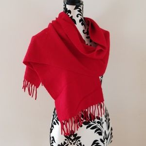 VTG *Gap Womens 100% Lambswool Red Scarf